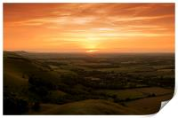 Sunset at Devils Dyke, Sussex, Print