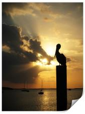 Pelican on the post, Print