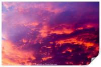 red cloudscape at sunset., Print