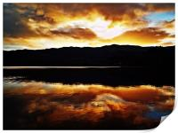 Sunset Reflections Over Loch Achray, Print