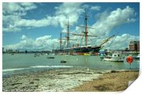 HMS Warrior at Portsmouth Harbour , Print