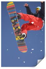 Snowboard jumping on Vogel mountain, Print