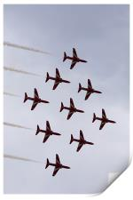 Red arrows in diamond nine formation, Print
