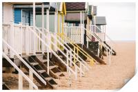 Beach huts at Wells-next-the-sea., Print