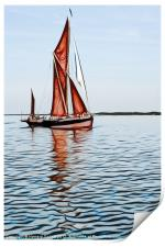 Thames barge reflection 2, Print