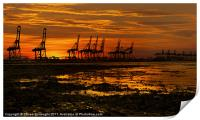 Sunset At The Port Of  Felixstowe, Print