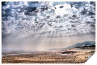 Heavenly Rays at Sandsend Beach, Print