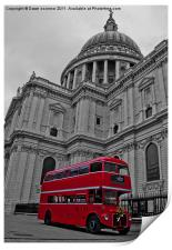 Red London Bus at St. Paul's, Print