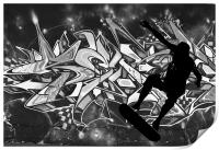 Skateboarder with Graffitti Background, Print