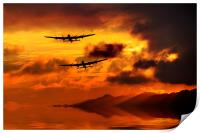 Lancasters and Sun Rays , Print