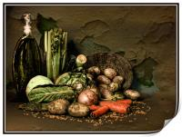 Still life with vegetables., Print