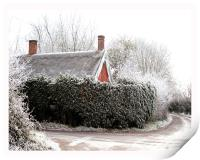 Thatched cottage after a heavy frost, Print