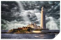 Stormy Skies at St Marys Lighthouse, Print