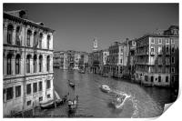 Light Traffic on the Grand Canal - B&W, Print