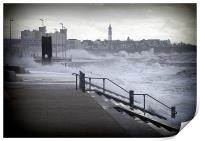 Rough sea at Cleveleys, Print