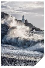 Mumbles Lighthouse Waves., Print
