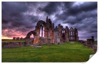 sunrise at whitby abbey north yorkshire, Print