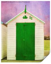 Green Beach Hut, Print