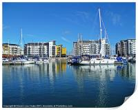 Boats and Yachts in harbour, Print