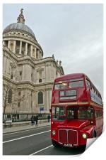 London red bus and St Paul's, Print