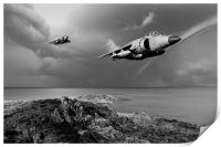 Sea Harriers over the Falklands BW, Print