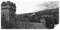 Lancaster PA474 at the Derwent Dam black and white, Print