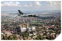 Avro Vulcan passing Lincoln Cathedral, Print