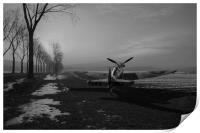 Spitfire in winter, black and white version, Print