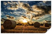 Straw Bales Sunset, Print