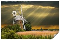 windmill with sunbeams, Print