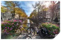 Iconic Amsterdam canal view with bicycle parked be, Print