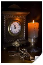 Clock, Candle and Old Keys, Print