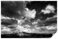 Cloudy day over Corfe Castle, Print