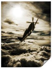 Spitfire fighter sepia, Print