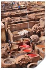 Leather Tannery in Fes, Print