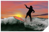 Surfing silhouette, Print