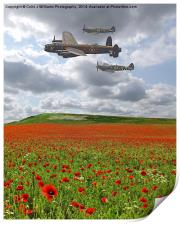 Spitfires And A Lancaster , Print