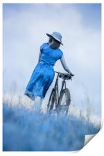 woman with bicycle in field, Print