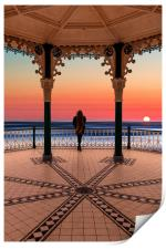 Silhouette of girl  on Brighton Bandstand, Print