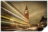 Houses of Parliament at night, London. , Print