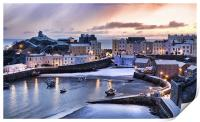 Tenby Harbour in the Snow, Print