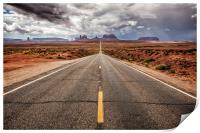 The long straight road to Monument Valley, Utah, Print