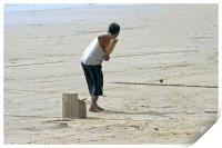Beach cricket slog for Six, Print