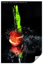Fresh Apple slices drenched with water, Print