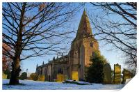 The Church of St Peter, Hope, Derbyshire , Print