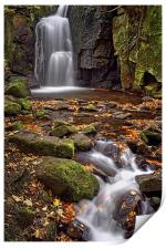 Lumsdale Falls in Autumn , Print