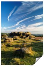Owler Tor with Dramatic Sky                      , Print