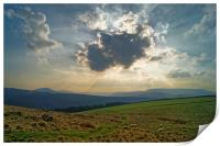 Crespuscular Rays from Crook Hill, Print