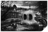 Pulteney Bridge and River Avon in Bath            , Print