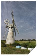 Thurne Dyke Mill and Boats, Print